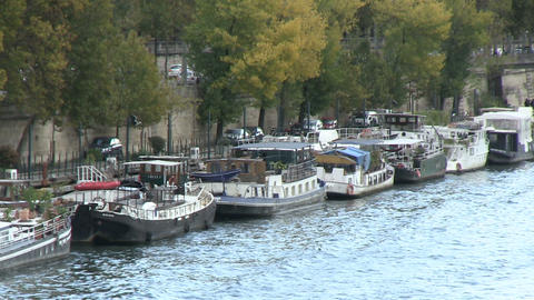 Boats in Seine River Footage