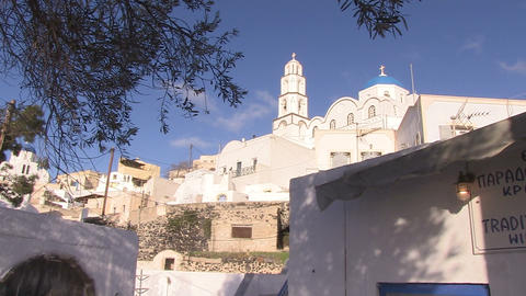 Church, Pyrgos, Santorini, Greece Footage