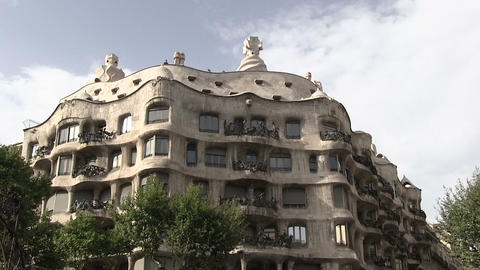 Low Angle View Of Casa Mila Footage
