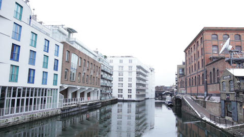Houses at Waterfront, Grand Union Canal, Camden Town, London, United Kingdom Live Action