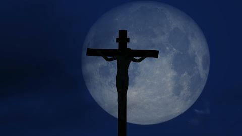 Jesus Christ crucified at night footage Footage