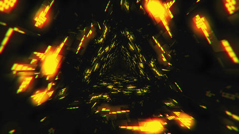 VJ Loop Yellow Energy Tunnel Animation