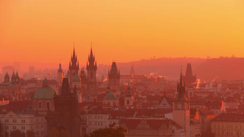 Golden Morning over Roofs of the Prague. Time Lapse 4K Footage
