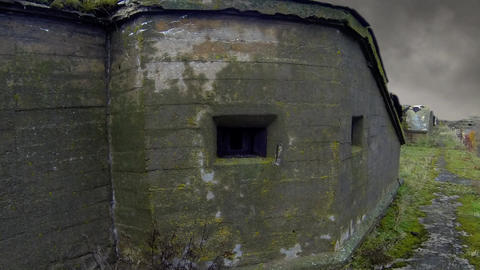 Smoke over ruin fort Totleben Footage
