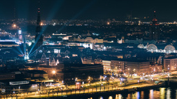 Night time lapse of Riga Old Town's riverside during a light festival Footage