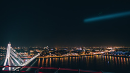 Night time lapse of Riga's skyline during a light festival Footage