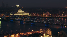 Day to night time lapse of the National Library of Latvia Footage