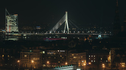 Night time lapse of Riga Old Town during a light festival Footage