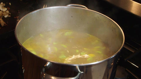 Soup Cooking In Stainless Steel Pot stock footage