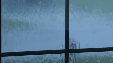 Rain Drops Flowing Down Window Glass stock footage