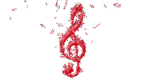 Treble clef with flying notes Animation