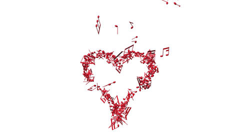 red music notes making one big heart Animation