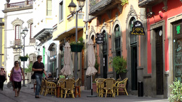 Spain Gran Canary Arucas 008 street cafe in an old town alley Footage
