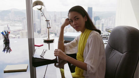 11 Portrait Of Business Woman Working In Office With Tablet Footage