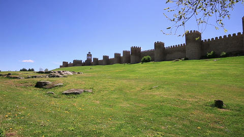 Medieval city wall built in the Romanesque style, Avila (City of Stones and Sain Footage