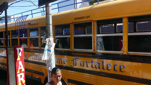 Yellow schoolbus in street of Leon Footage