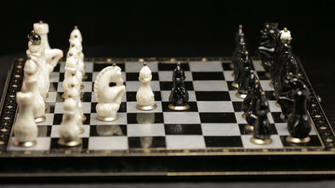 Chess board with two players Footage