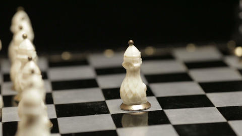 Chess board with two players closeup Footage
