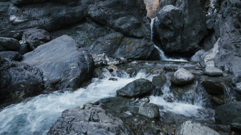 Waterfall Flow In Mountains stock footage