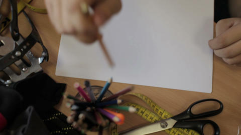 Fashion design drawing pencil motion Footage