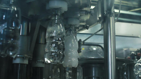 Bottled water production round line Footage