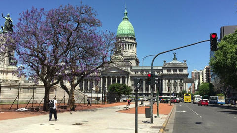 Argentinian Congress building street view Live Action