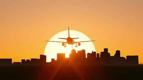 Plane Taking Off On Sunset Or Sunrise Video stock footage