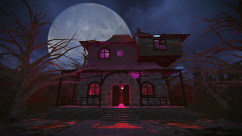 Haunted house full moon night footage Live Action