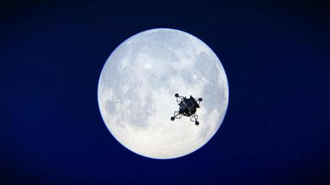 Lunar Module leaving the moon footage Footage