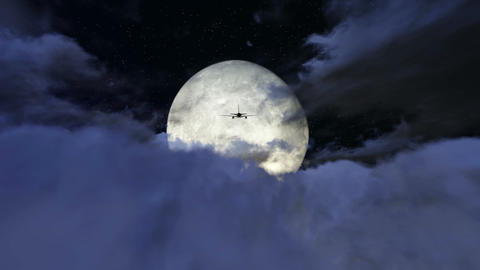 Airplane Flying Over The Clouds In Full Moon Footage stock footage