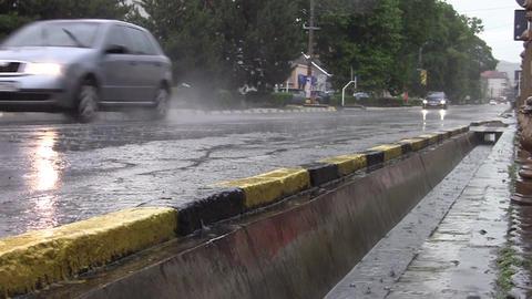 Car traffic on heavy rain 12 Footage