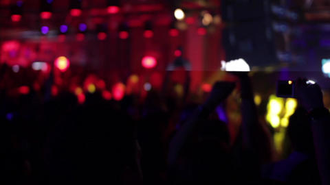 Music concert in club 06. Spectators clap their hands during a music concert org Footage