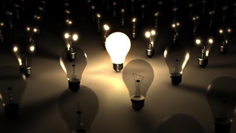 3D SEAMLESS LOOP Single Illuminated Lightbulb Stock Video Footage
