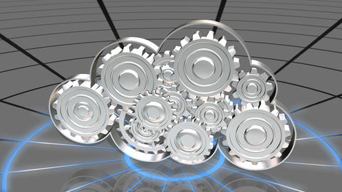 Cloud Computing Working Gears Animation