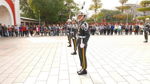 Soldiers in line, rifle clatter, rotate and flip, honour guard change ceremony Footage