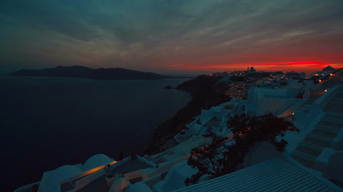 Wide Angle Caldera Dusk Shot in Santorini, Greece Footage