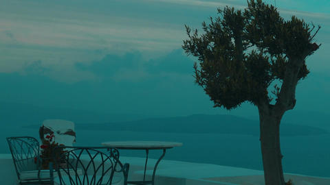 Establishing Shot of Aegean Sea and Islands from a Terrace Footage