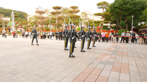 Soldiers make steps and quickly change formation, guard change ceremony Footage