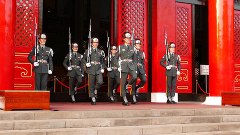 Honor guard group captain lead soldiers, change ceremony Footage