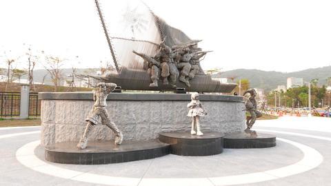 Modern sculpture from thin metal plates, parallax shot Footage