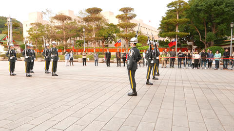 Sentinels change, salute, steps, performance at Taipei Martyr's Shrine Footage