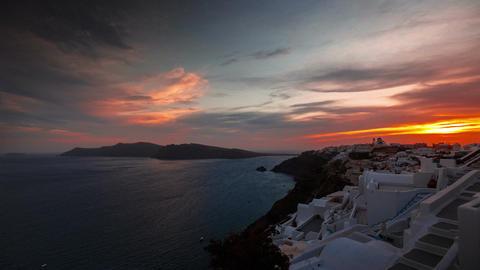 Greek Santorini Caldera Timelapse from Sunset to Night Time Footage