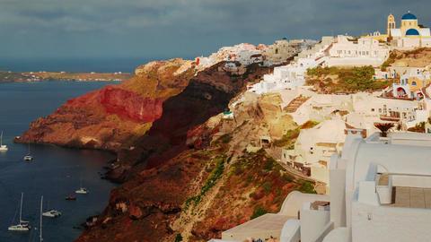 Greek Santorini Caldera Timelapse Morning Close-up Shot Footage