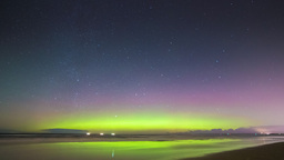 Aurora Borealis (Northern Lights) on a beach Footage