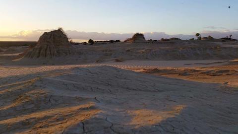 Lake Mungo Australian Outback Desert Landscape Sunset stock footage