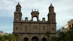 Spain Gran Canary Las Palmas City 003 Basilica Cathedral Santa Ana Zoom Shot stock footage