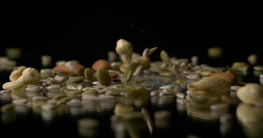 Nuts and seeds vegetarian healthy food snack Footage