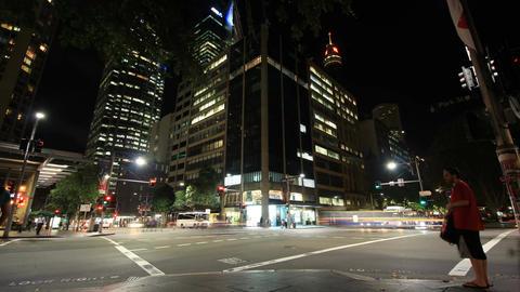 Establishing shot City Street Night Traffic and Pedestrian Time Lapse - 4K Live Action
