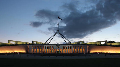 Canberra Australia, Parliament House Time Lapse Sunset stock footage