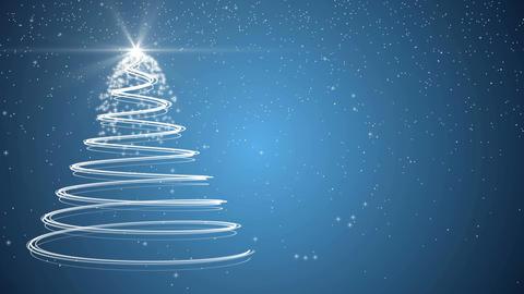 Blue Christmas tree xmas holiday celebration winter snow animation background Footage